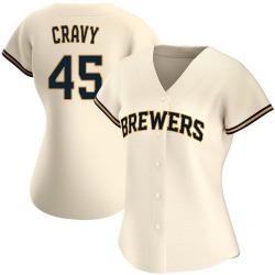 Tyler Cravy Milwaukee Brewers Women's Replica Home Jersey - Cream