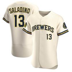 Tyler Saladino Milwaukee Brewers Men's Authentic Home Jersey - Cream