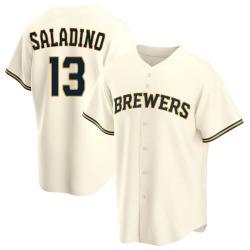 Tyler Saladino Milwaukee Brewers Men's Replica Home Jersey - Cream
