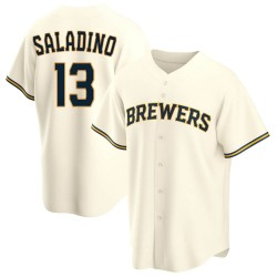 Tyler Saladino Milwaukee Brewers Youth Replica Home Jersey - Cream