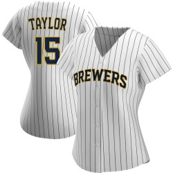 Tyrone Taylor Milwaukee Brewers Women's Authentic /Navy Alternate Jersey - White