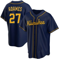 Willy Adames Milwaukee Brewers Youth Replica Alternate Jersey - Navy