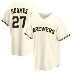 Willy Adames Milwaukee Brewers Youth Replica Home Jersey - Cream